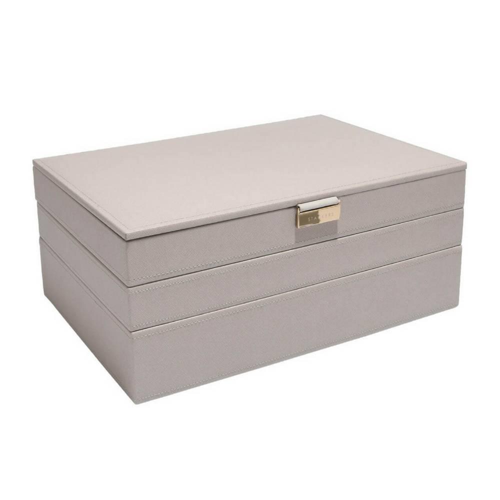 Supersize 3-Set Juwelendoos in Taupe & Grey-1