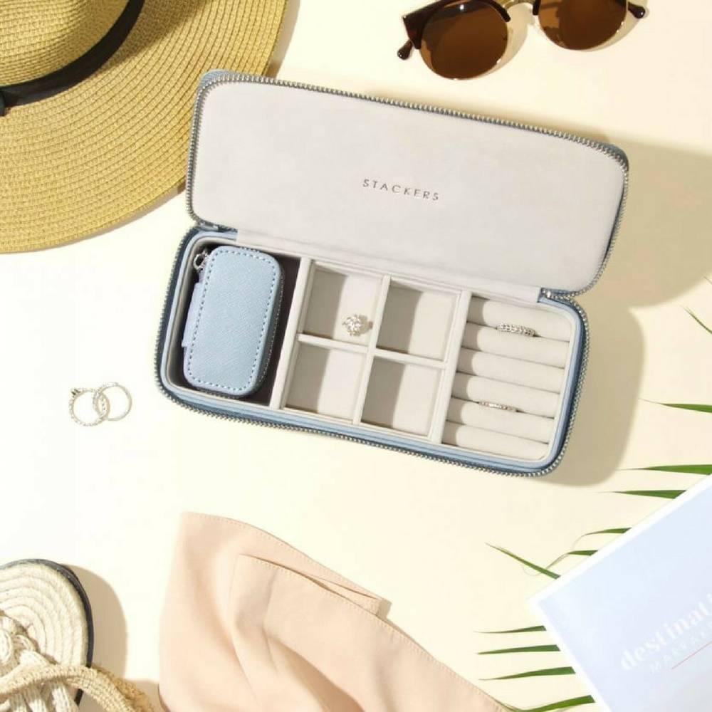 Supersize Etui / Travel Box Set in Dusky Blue & Grey-3