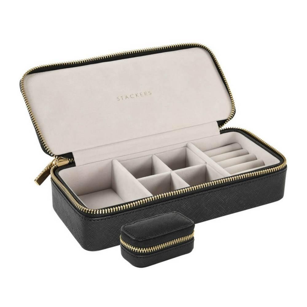 Large Travel Box Set in Black & Grey Velvet-1