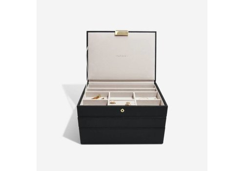 STACKERS Classic Jewellery Box 3-Set | Black & Grey