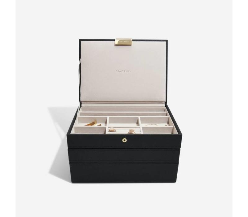 """Juwelen / Sieraden Doos """"Classic"""" 3-Set in Zwart & Grijs"""