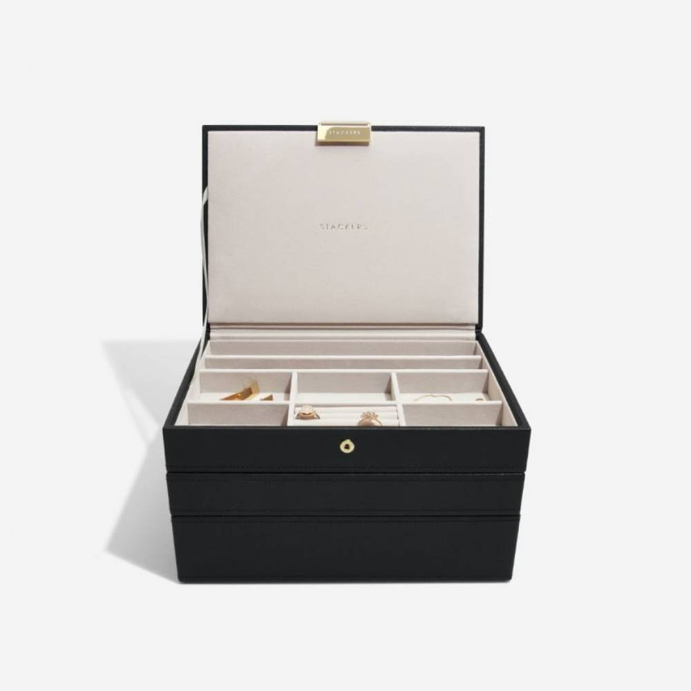 "Jewellery Box ""Classic"" 3-Set in Black & Grey-3"