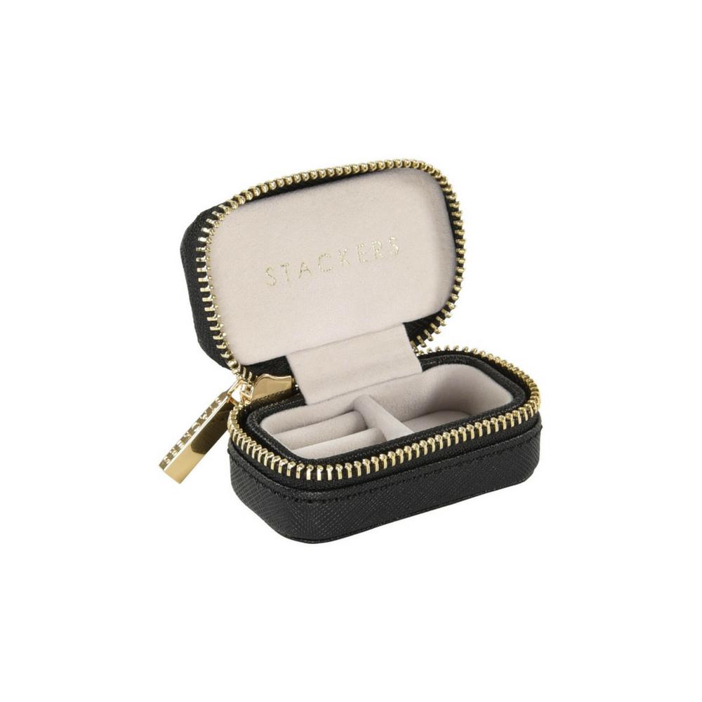 Large Travel Box Set in Black & Grey Velvet-3