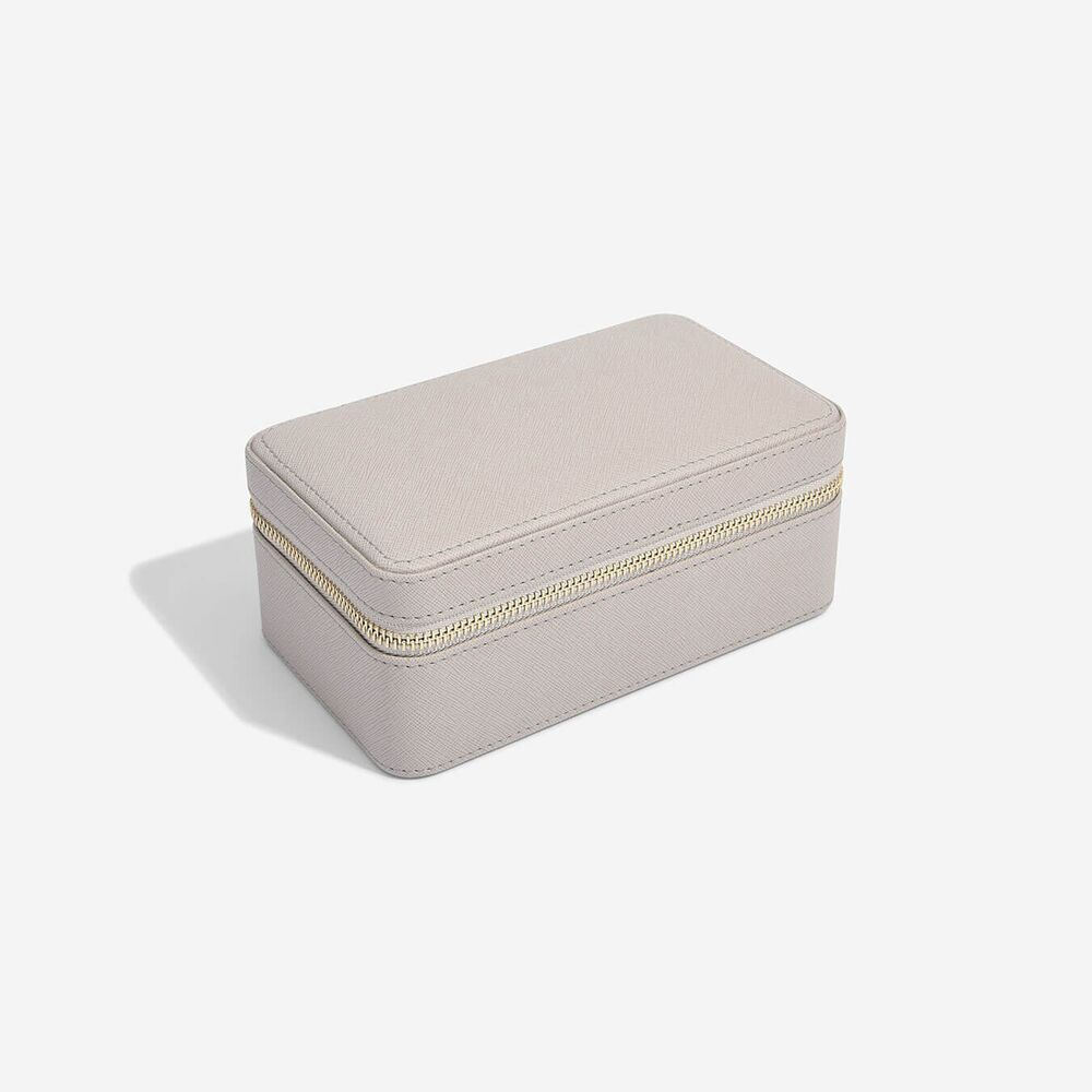 Deep Travel Box in Taupe & Grey Velvet-1