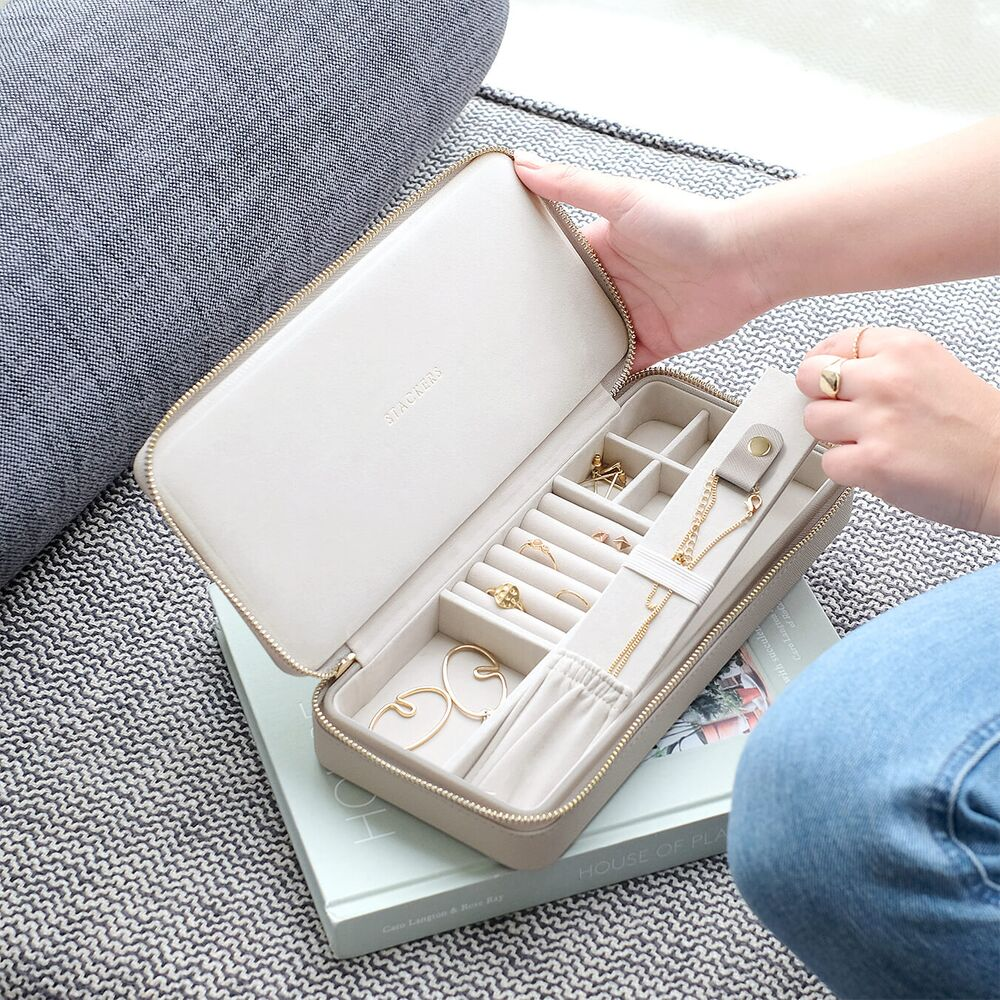 Sleek Travel Box in Taupe & Grey Velvet-3