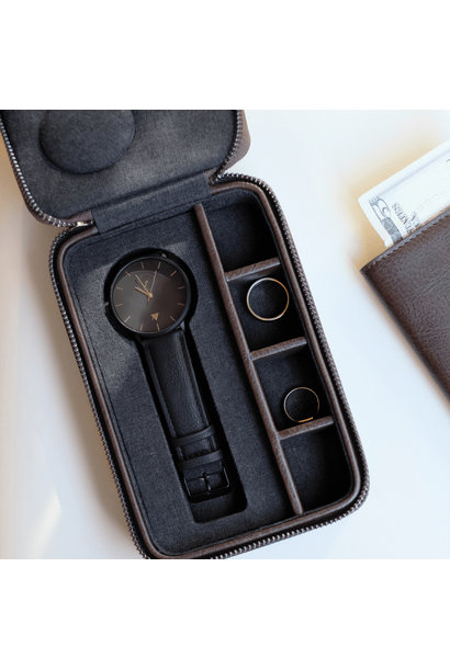 Travel Watch & Cufflink Box Brown