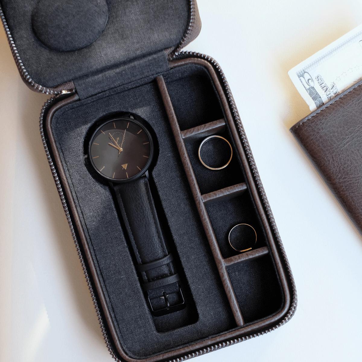 Travel Watch & Cufflink Box Brown-1