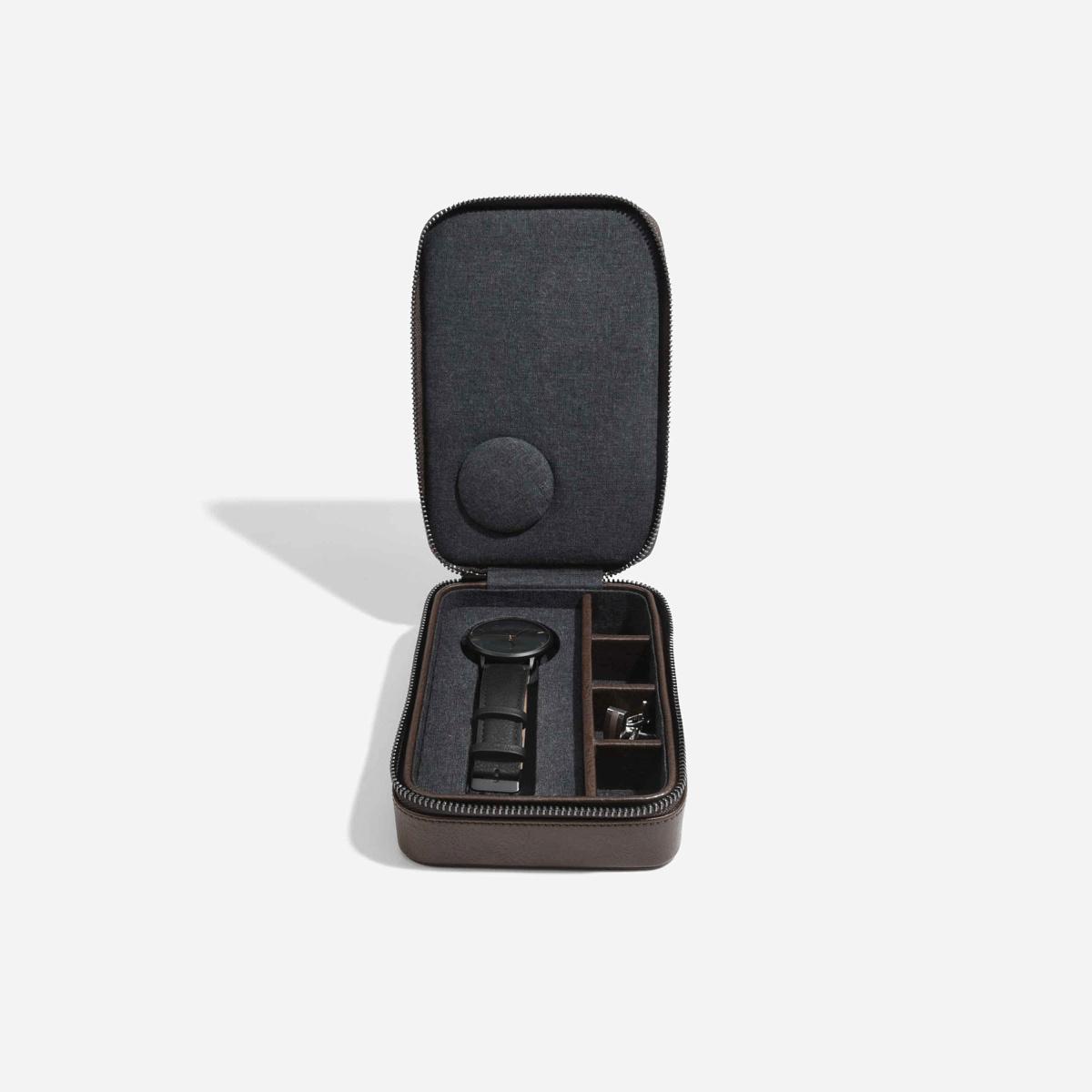 Travel Watch & Cufflink Box Brown-2