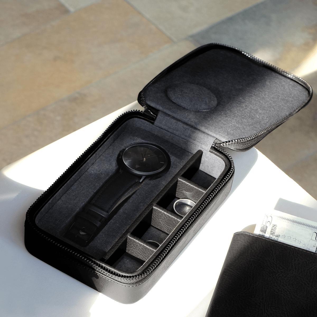 Travel Watch & Cufflink Box Black-1