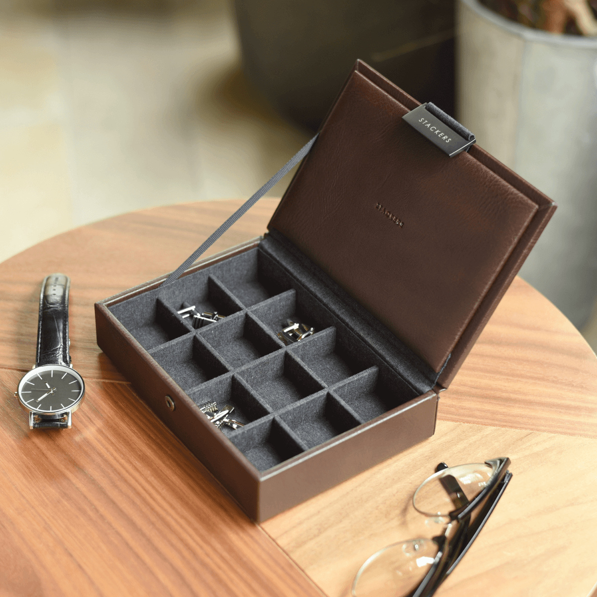 Mini Cufflink Box Brown-1