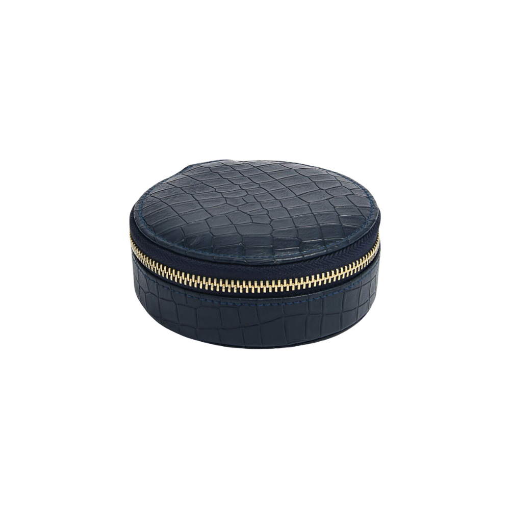 Round Travel Box Croc Navy-1