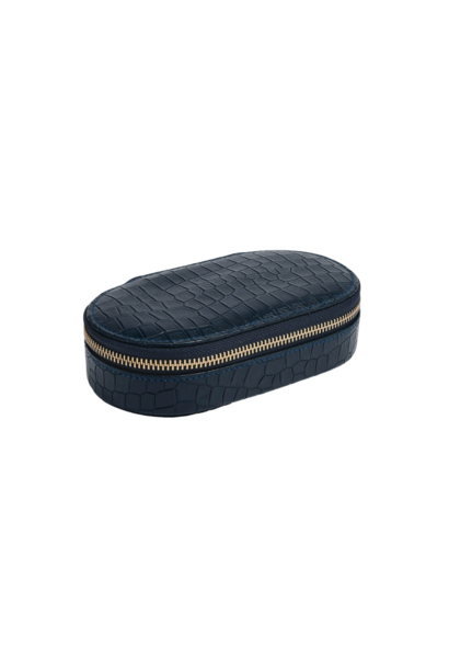 Oval Travel Box Navy Croc