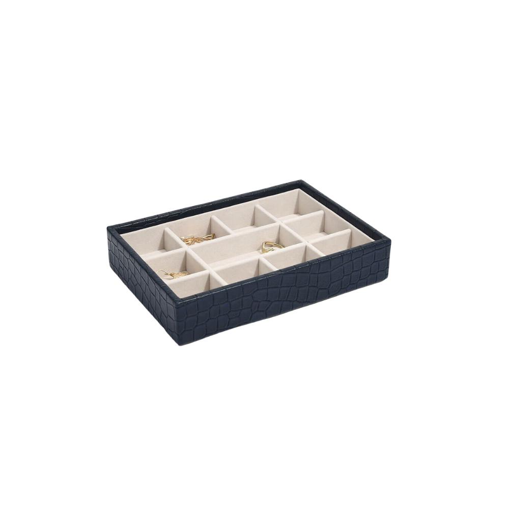 Mini 11-Section Box Croc Navy & Grey Velvet-1