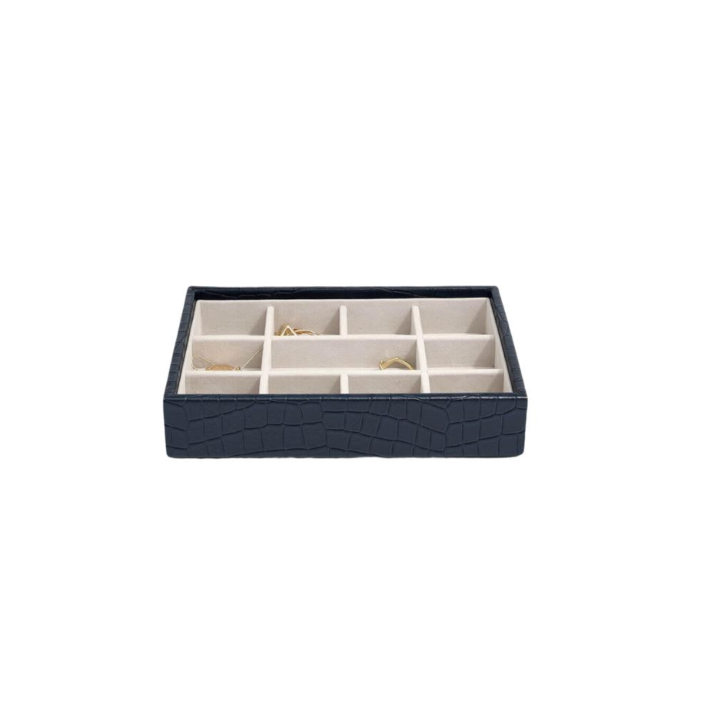 Mini 11-Section Box Croc Navy & Grey Velvet-2
