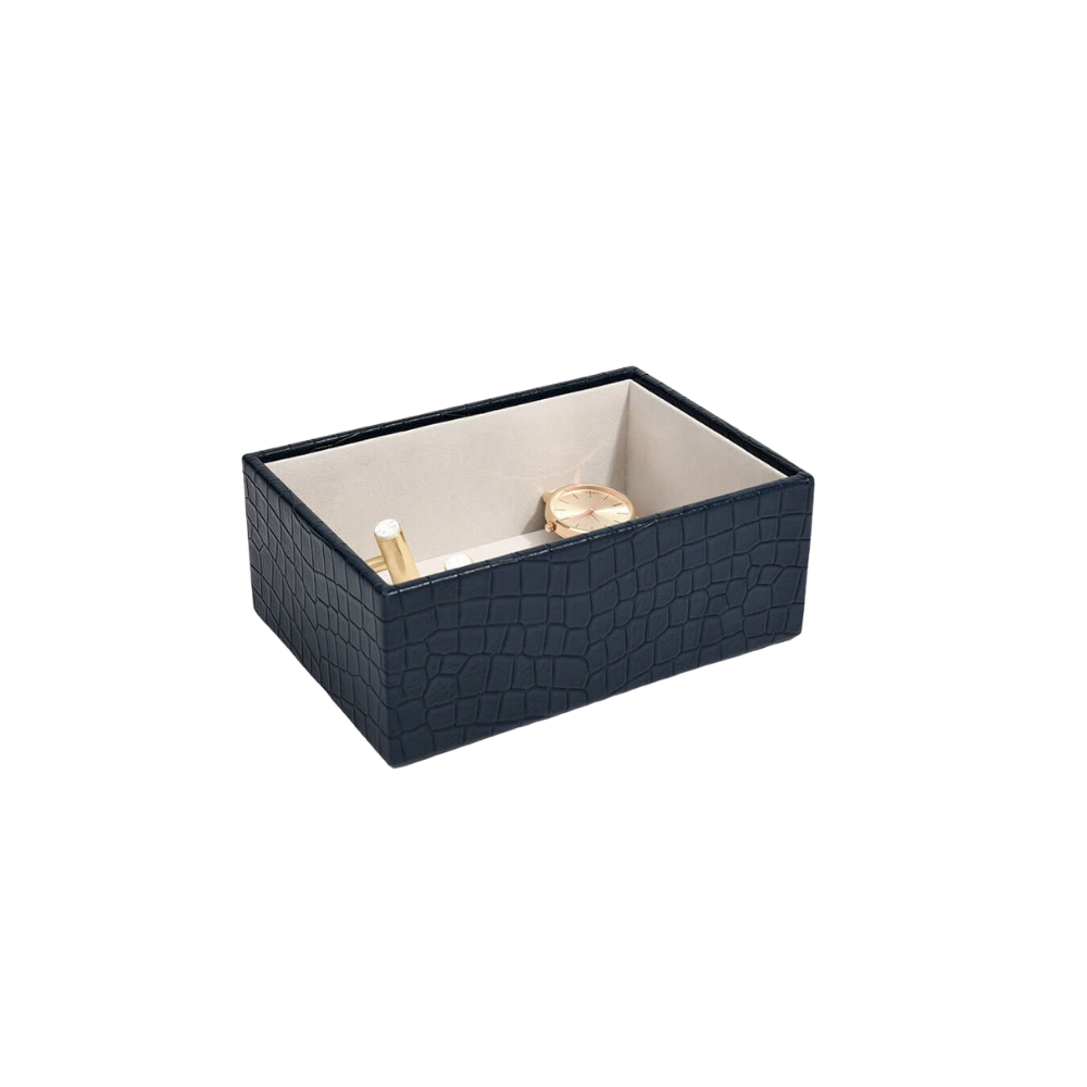 Mini Open Box Croc Navy & Grey Velvet-1