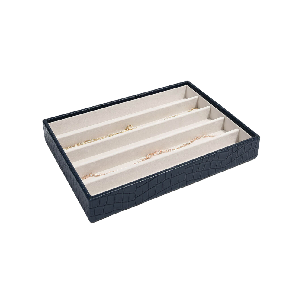 Classic 5-Section Box Croc Navy & Grey Velvet-1