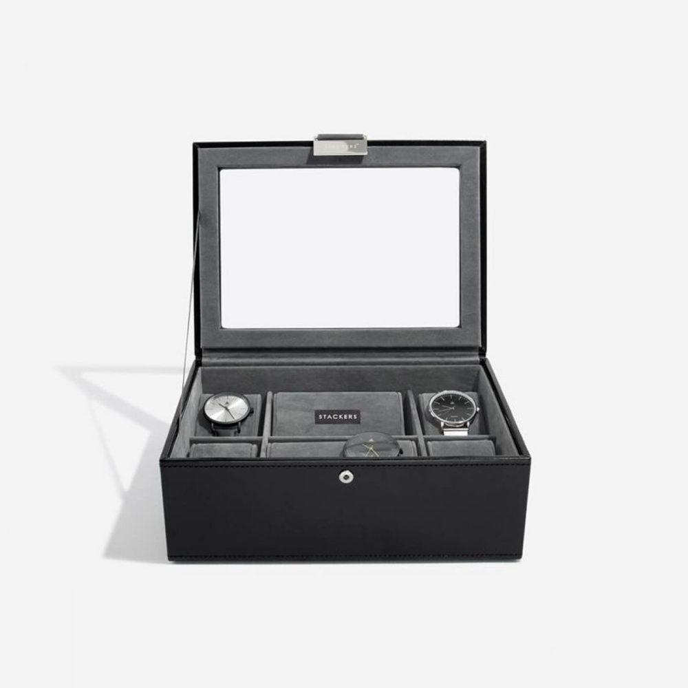 Top Box 8 Watches | Black & Grey Velvet-3