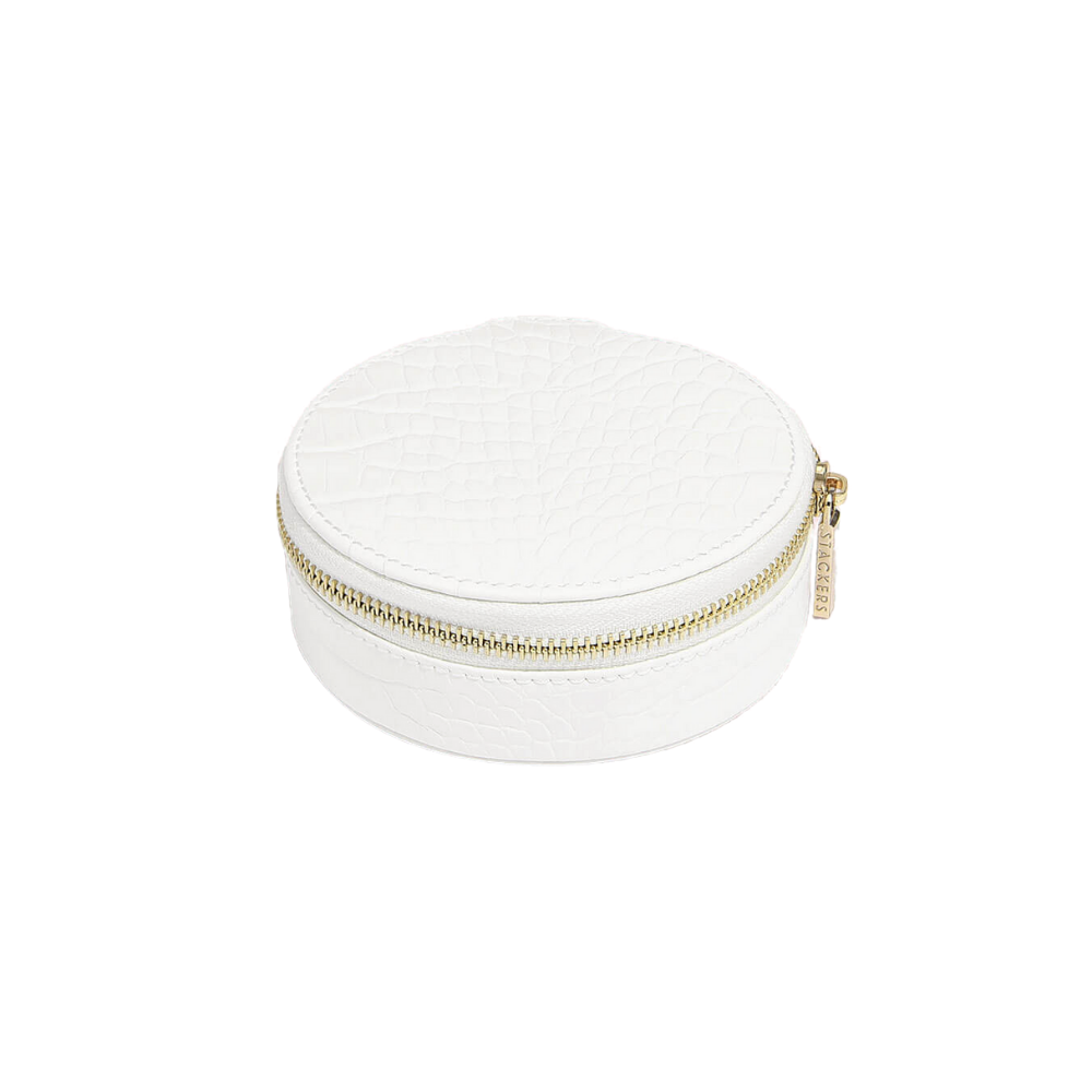 Round Travel Box Croc Chalk-1