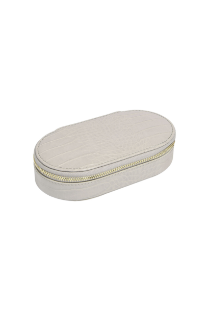 Oval Travel Box Putty Croc
