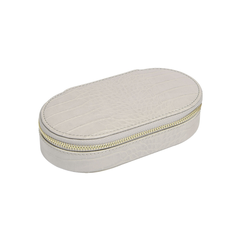 Oval Travel Box Croc Putty-1