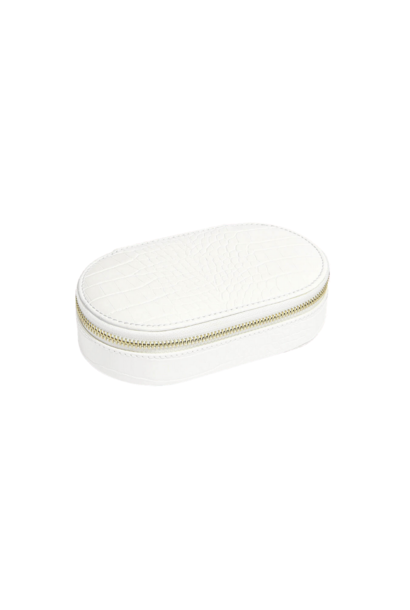 Oval Travel Box Chalk Croc