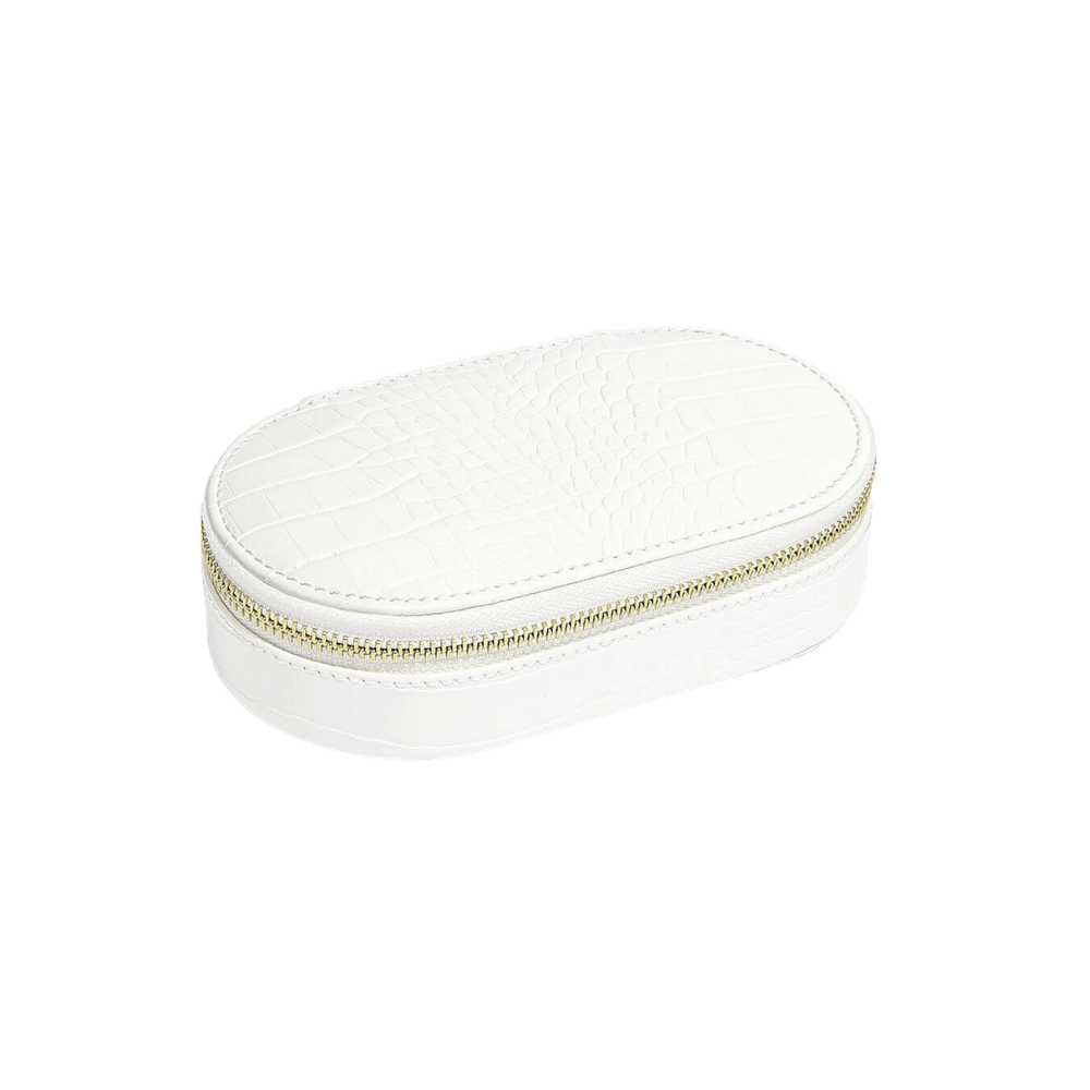 Oval Travel Box Chalk Croc & Grey Velvet-1