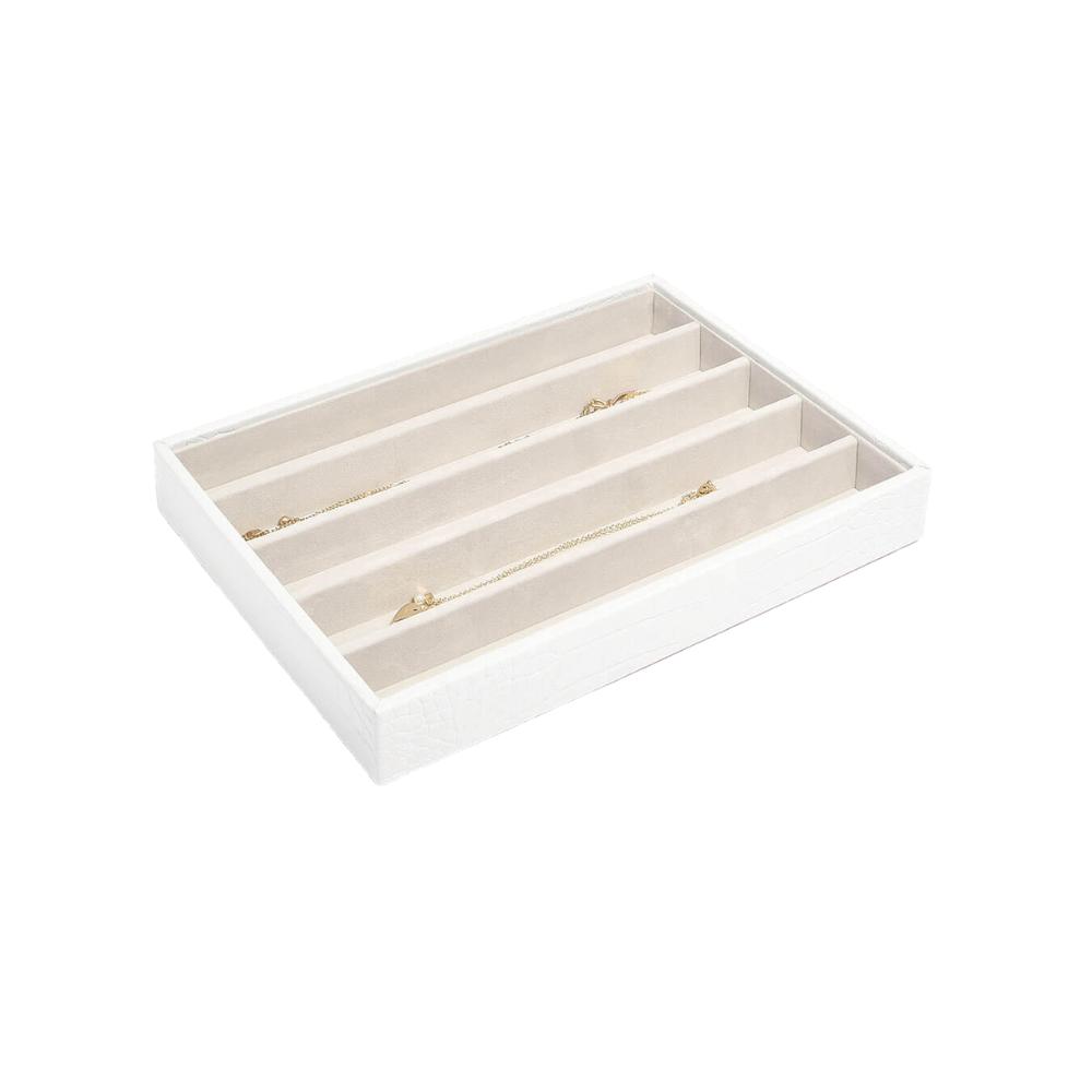 Classic 5-Section Box Chalk Croc & Grey Velvet-1