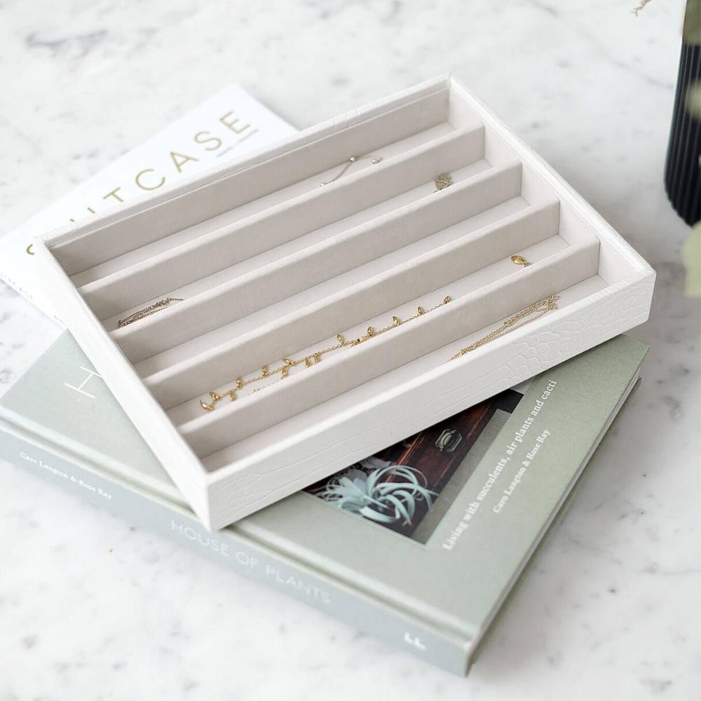 Classic 5-Section Box Chalk Croc & Grey Velvet-2