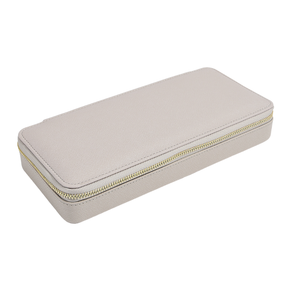 Sleek Travel Box in Taupe & Grey Velvet-2