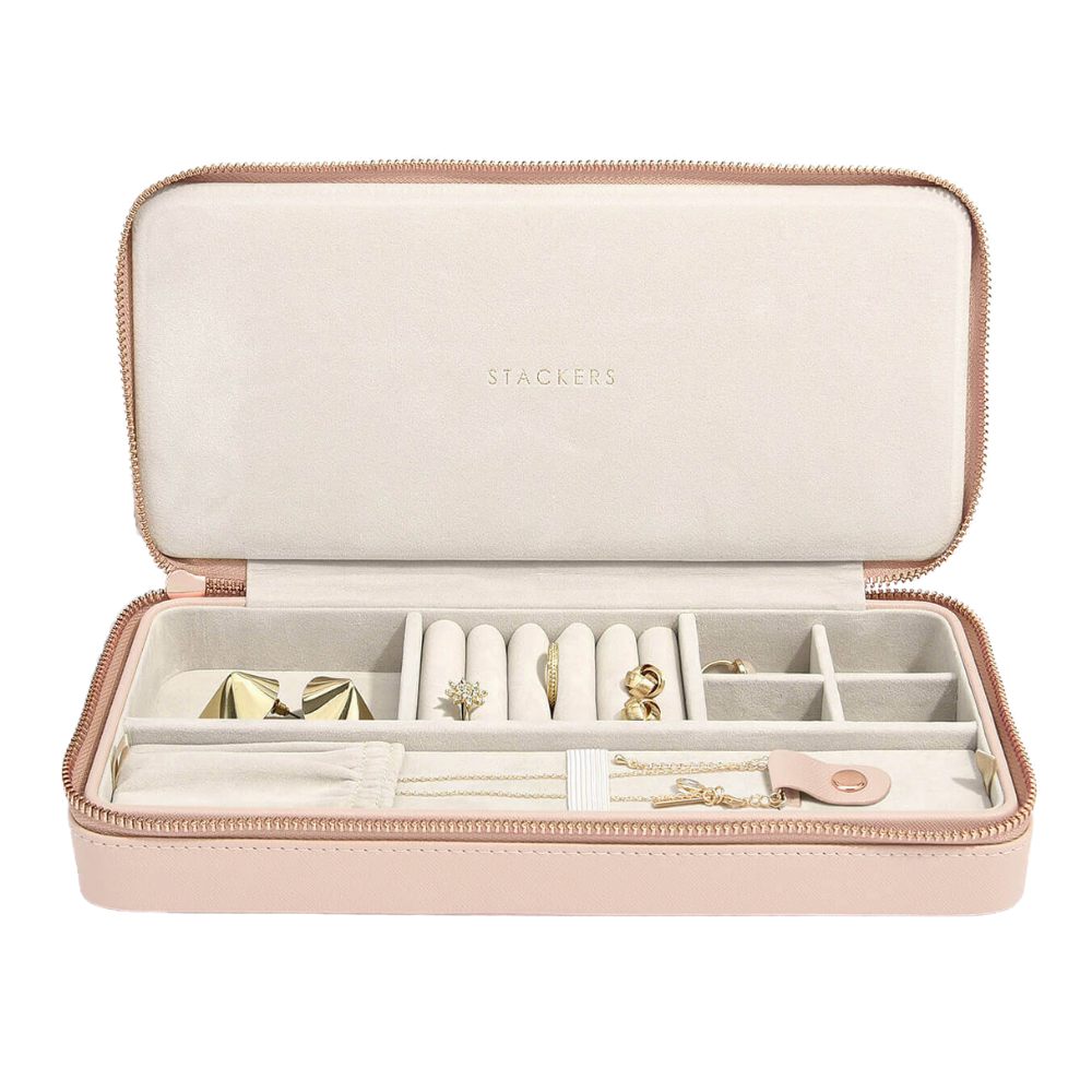 "Travel Box ""Sleek"" Blush & Grey Velvet-1"