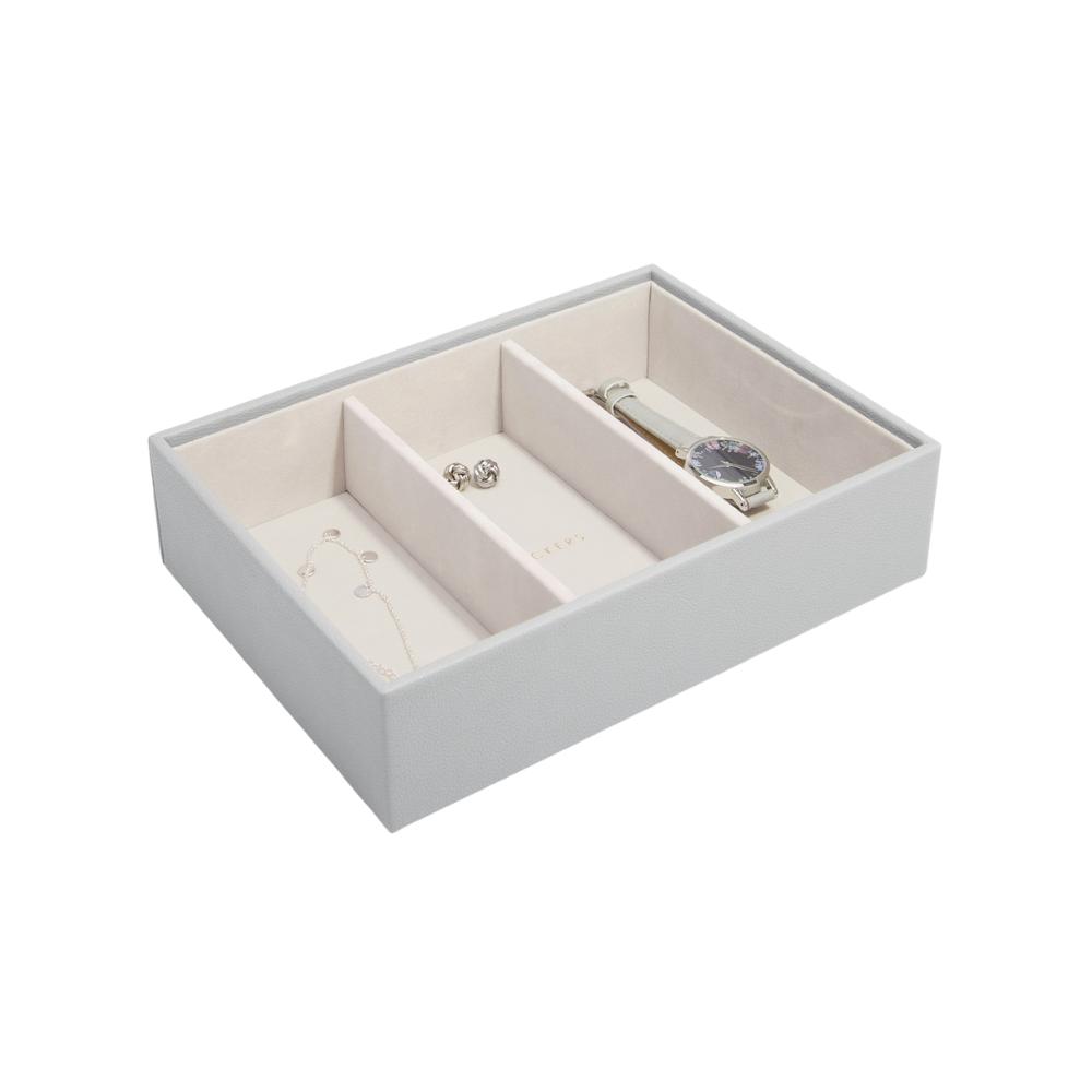 Classic 3-Section Box Pebble Grey & Grey Velvet-1