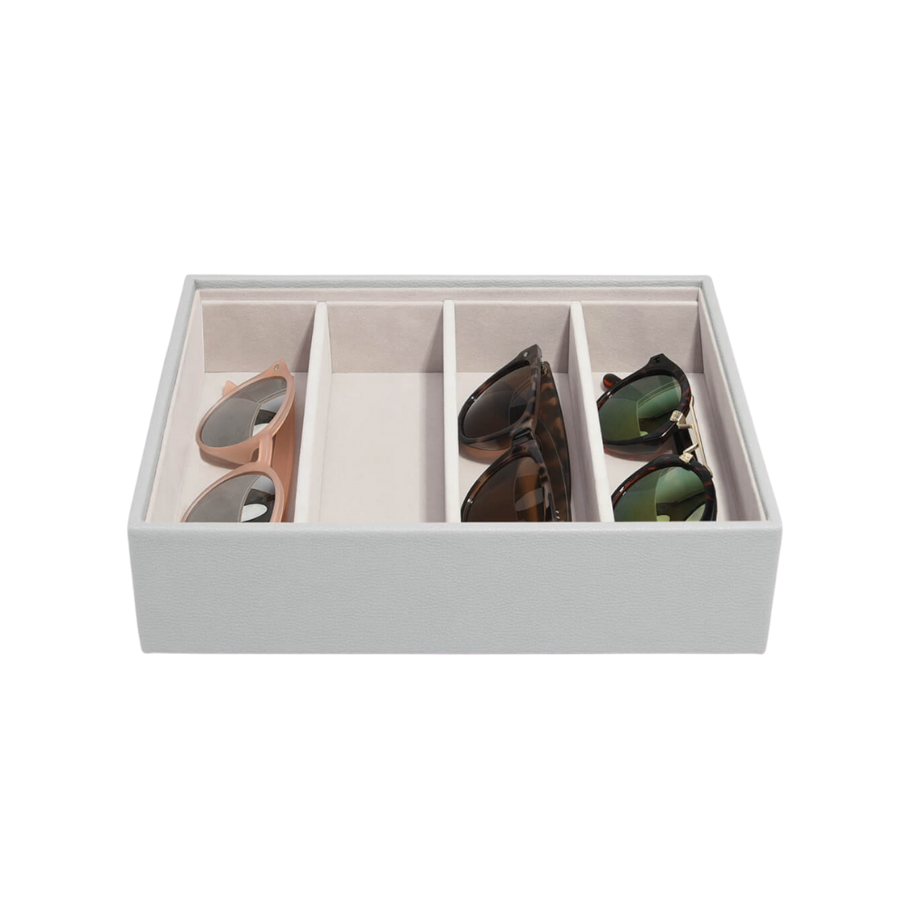 Classic Eyewear Storage Box Pebble Grey & Grey Velvet-1