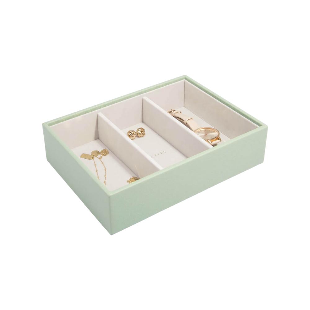 Classic 3-Section Box Sage Green & Grey Velvet-1