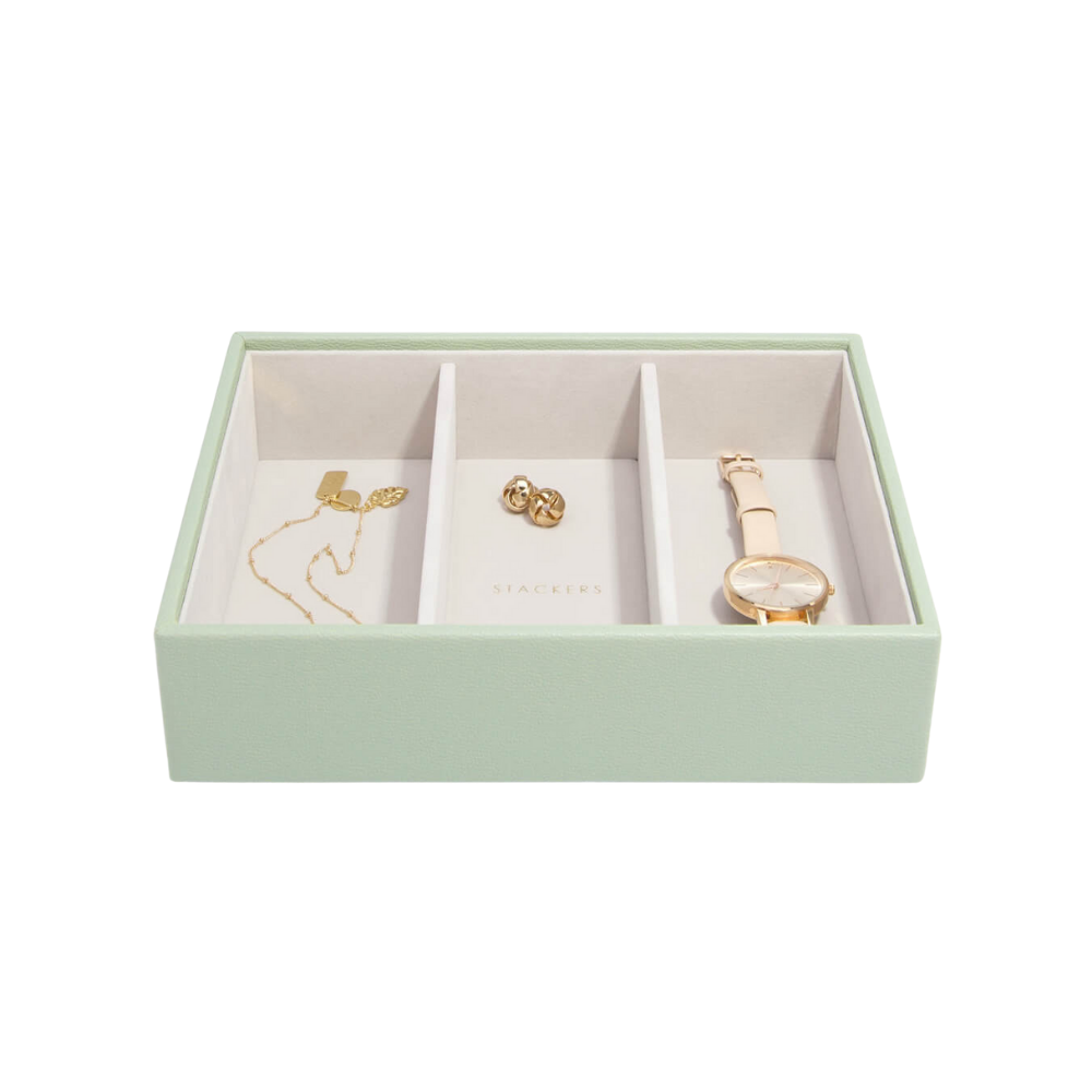 Classic 3-Section Box Sage Green & Grey Velvet-2