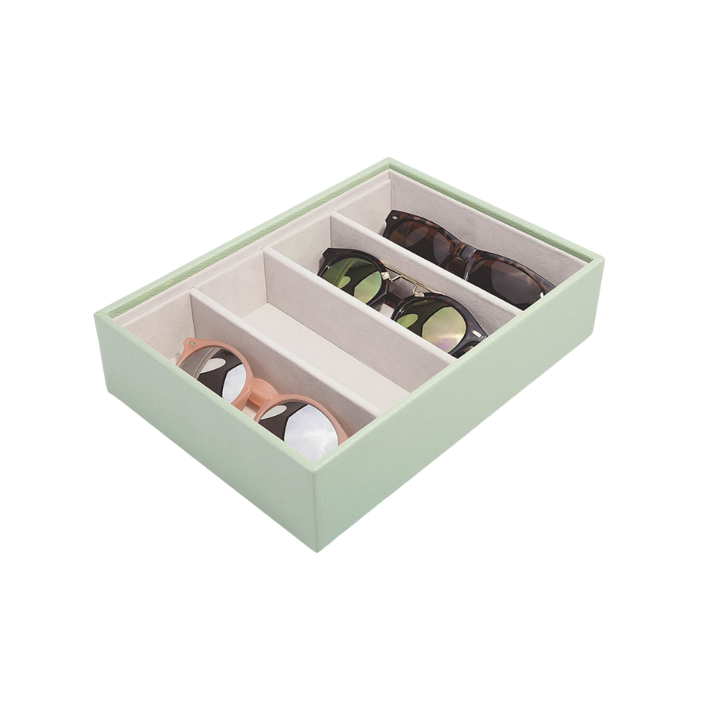 Classic Eyewear Storage Box Sage Green & Grey Velvet-1