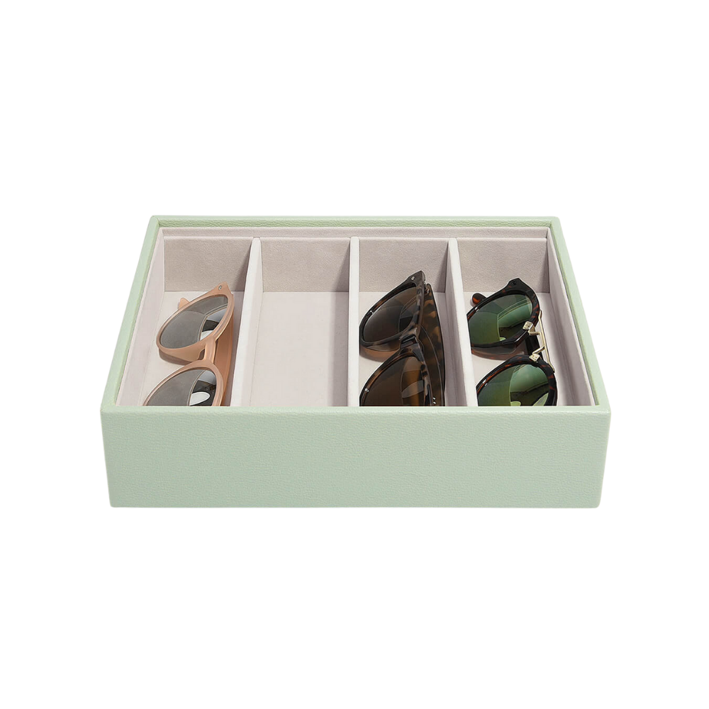 Classic Eyewear Storage Box Sage Green & Grey Velvet-2