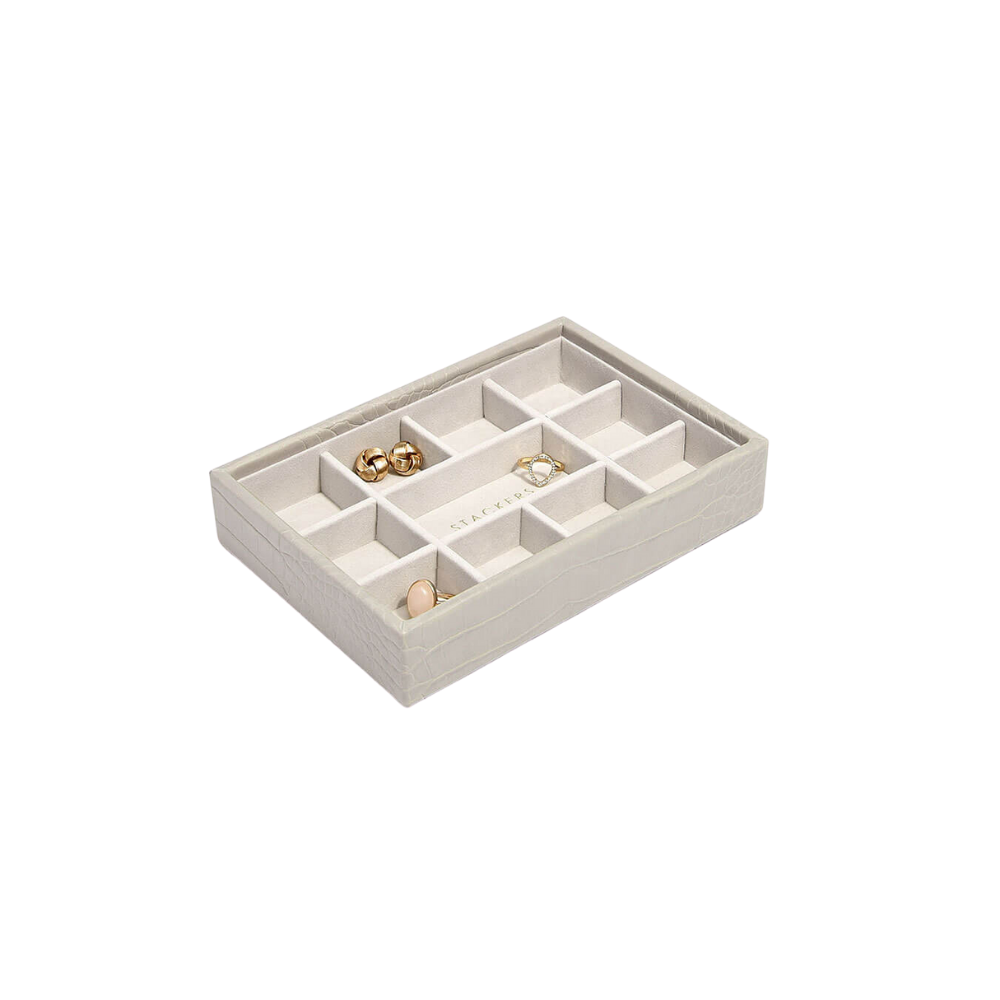 Mini 11-Section Box Putty Croc & Grey Velvet-1