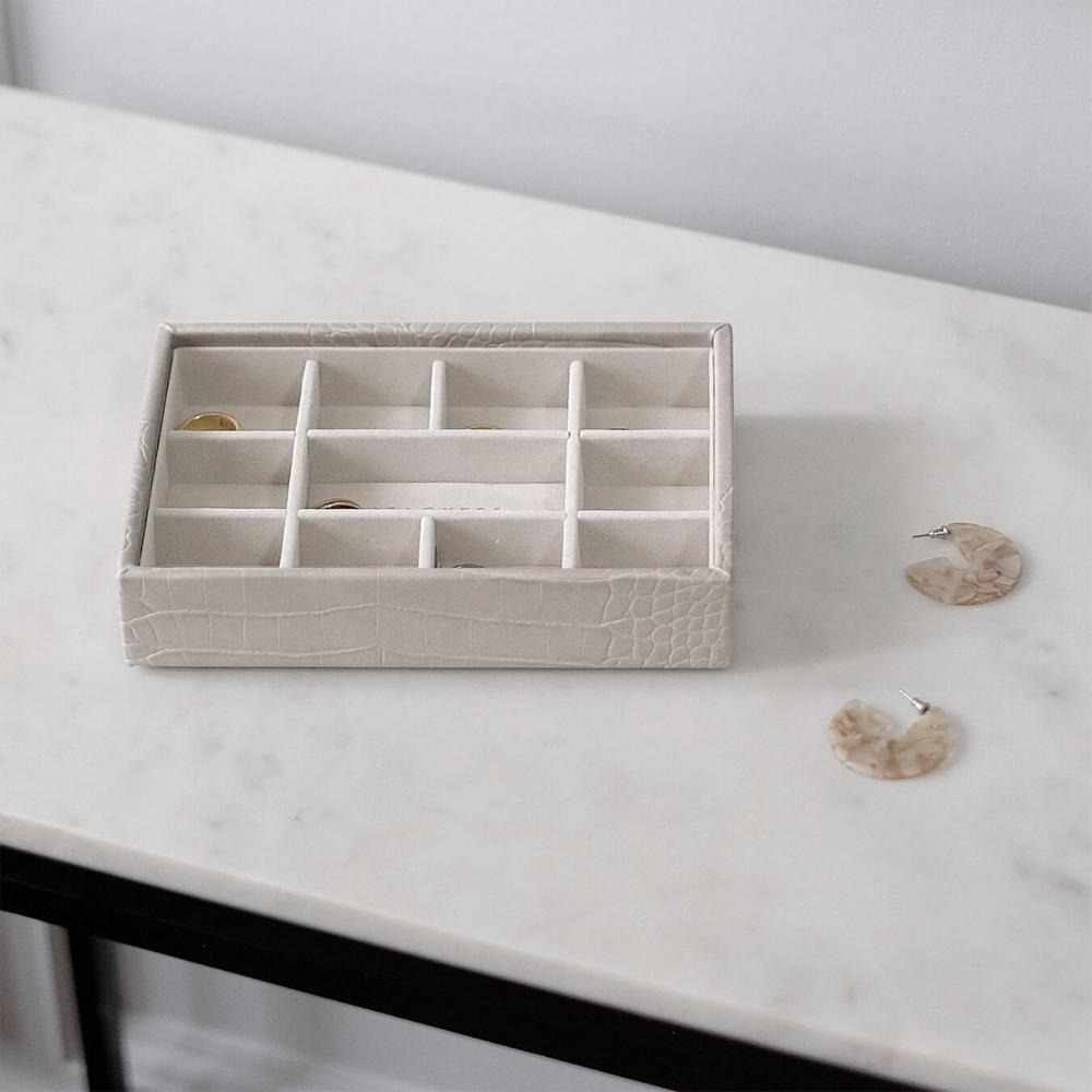 Mini 11-Section Box Putty Croc & Grey Velvet-3