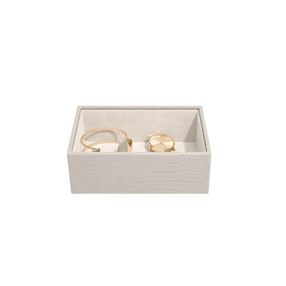 Mini Open Box Putty Croc & Grey Velvet-2