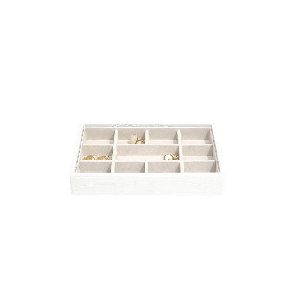 Mini 11-Section Box Chalk Croc & Grey Velvet-2