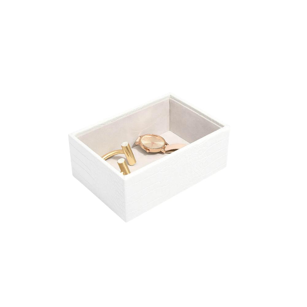 Mini Open Box Chalk Croc & Grey Velvet-1