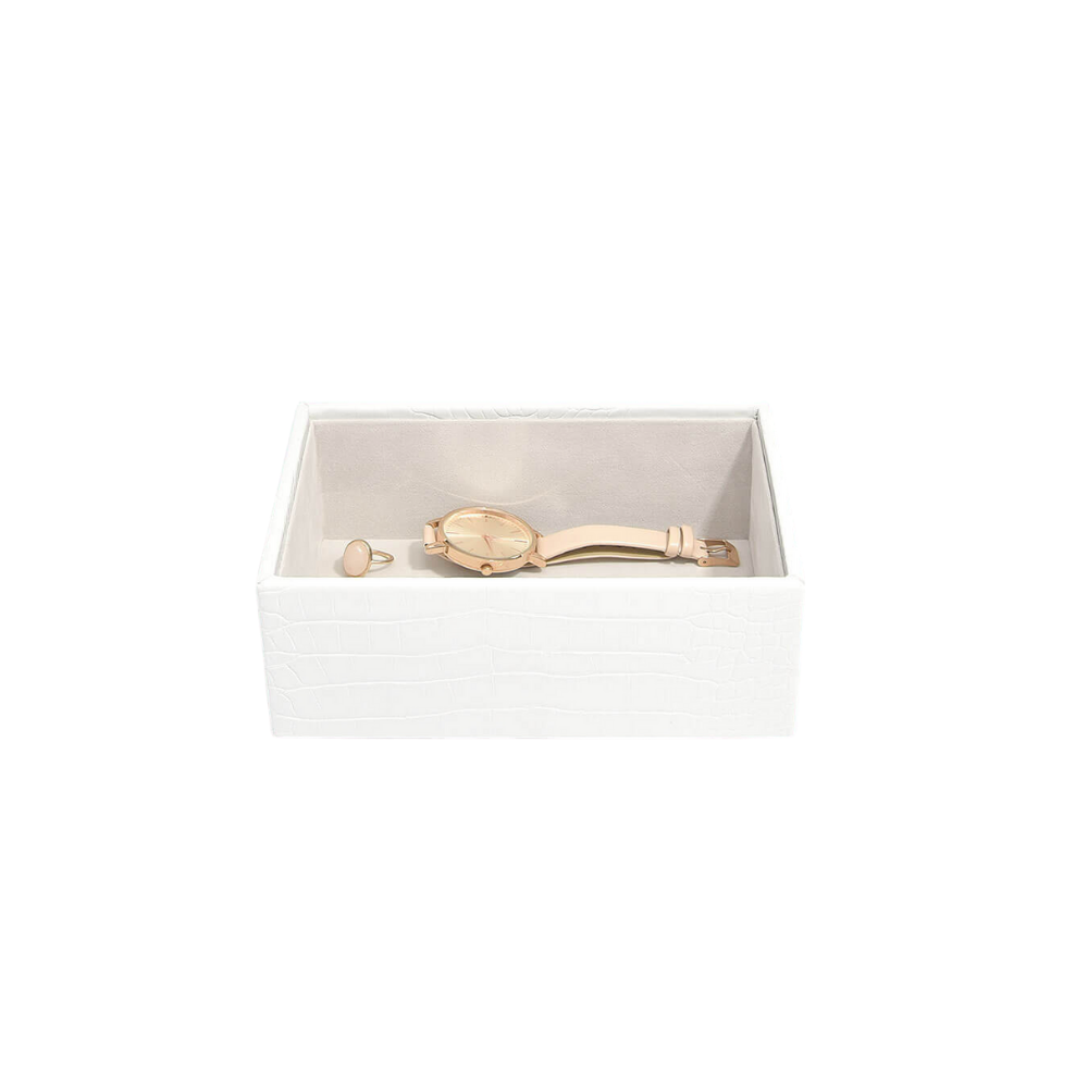 Mini Open Box Chalk Croc & Grey Velvet-2