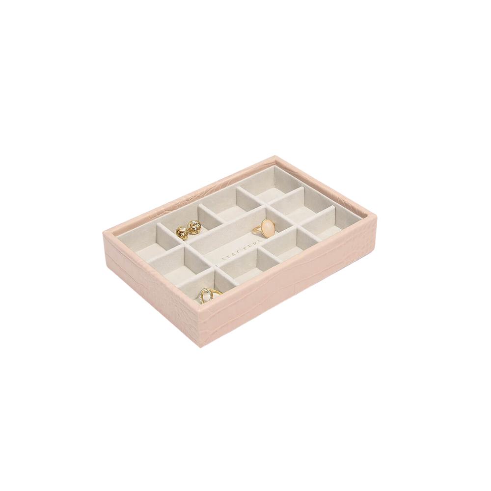 Mini 11-Section Box Pink Croc & Grey Velvet-1