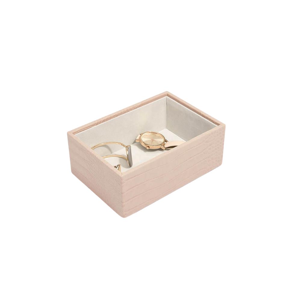 Mini Open Box Pink Croc & Grey Velvet-1
