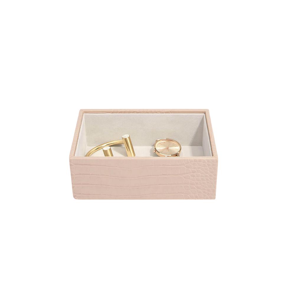 Mini Open Box Pink Croc & Grey Velvet-2