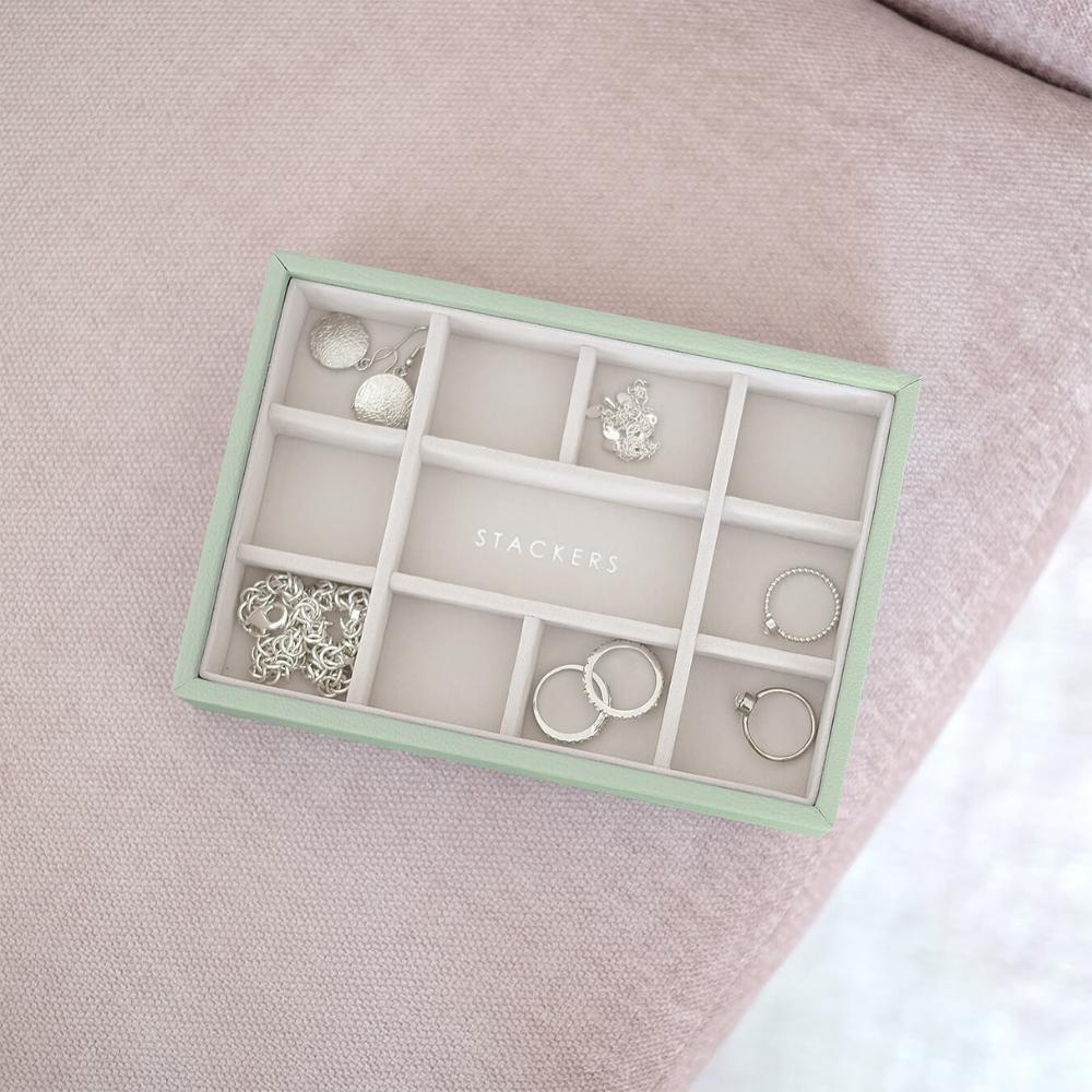 Mini 11-Section Box Sage Green & Grey Velvet-3