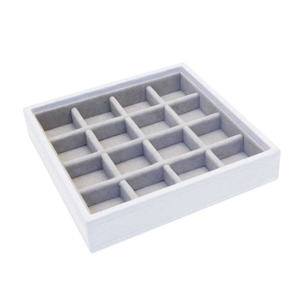 """Boîte à Bijoux """"Charm"""" 2-Set en White & Stone Grey-4"""