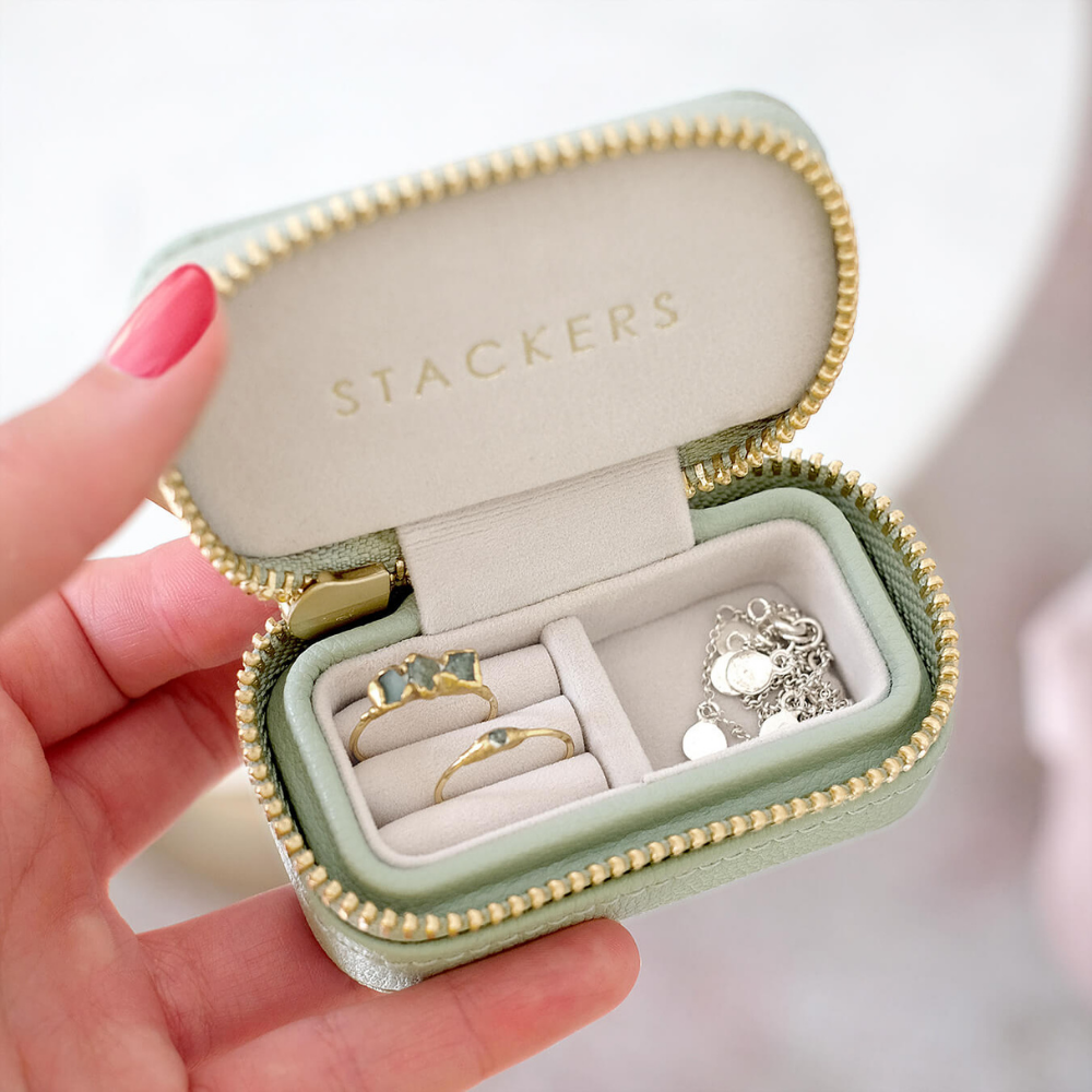 Small Travel Box Sage Green & Grey Velvet-3
