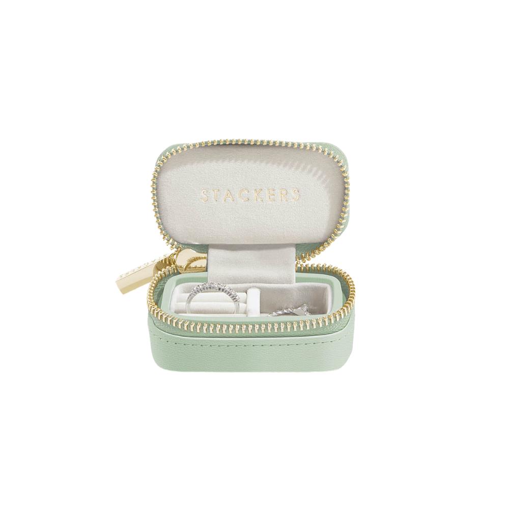 Small Travel Box Sage Green & Grey Velvet-1