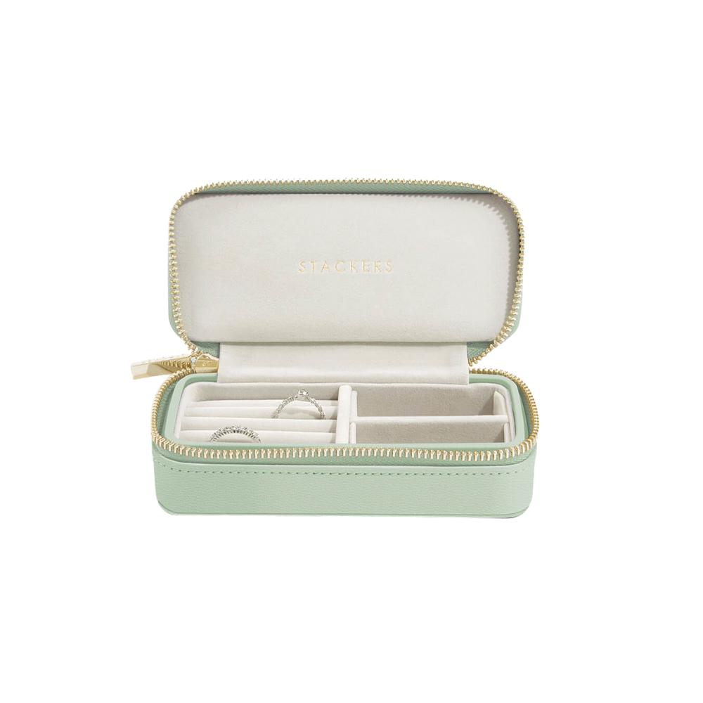 Medium Travel Box Sage Green & Grey Velvet-1